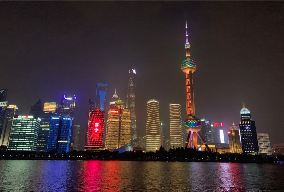 A photo of the skyline from a Ferry Tour in Shanghai