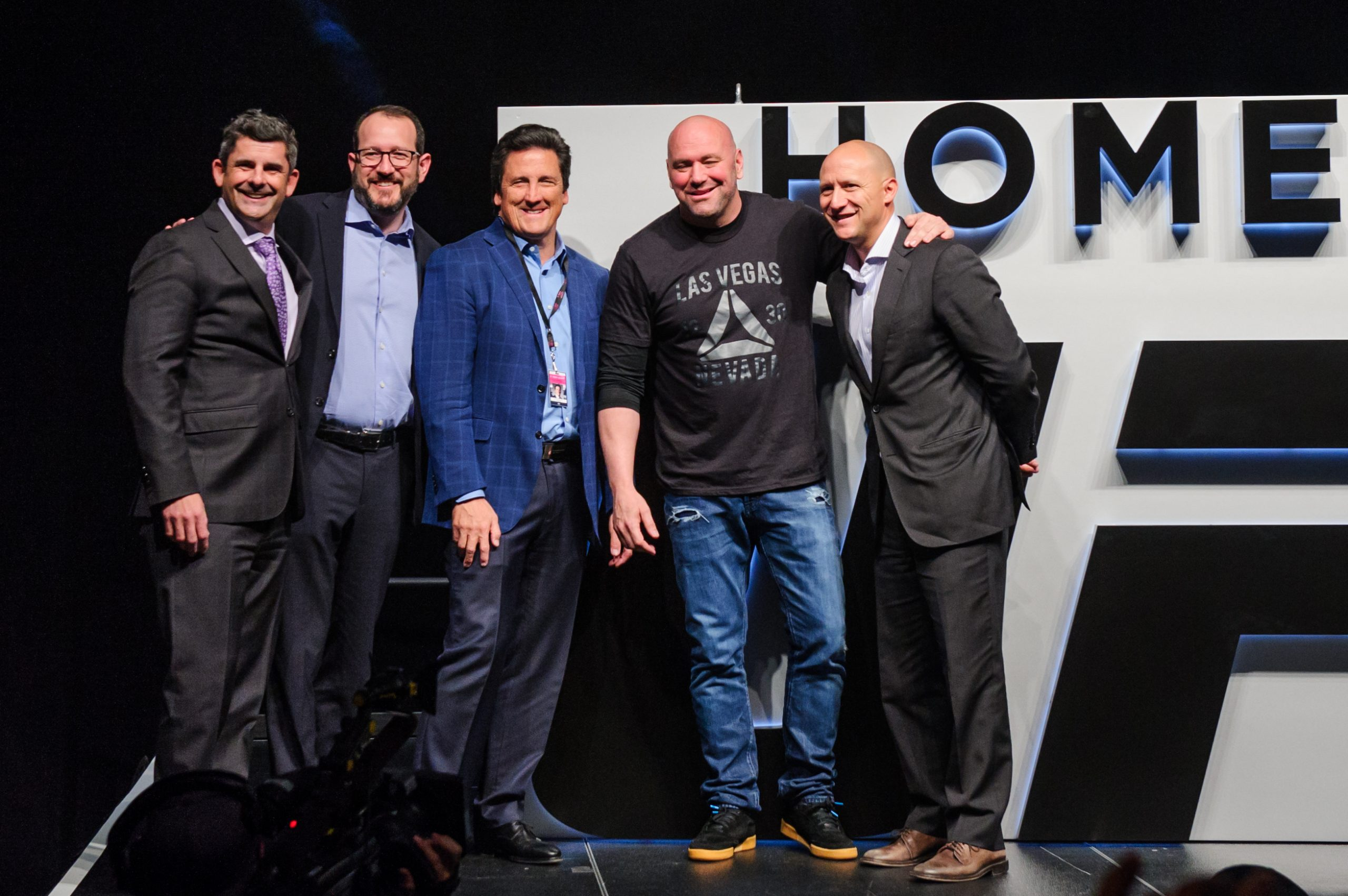 Rick Arpin, Sr. Vice President and Corporate Controller, MGM Resorts, International,  Dan Beckerman, President & CEO, Bill Hornbuckle, President of MGM Resorts International, AEG, Dana White, President of the Ultimate Fighting Championship (UFC), and Todd Goldstein Chief Revenue Officer, AEG
