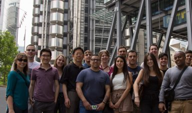 Student group in front of Lloyds of London